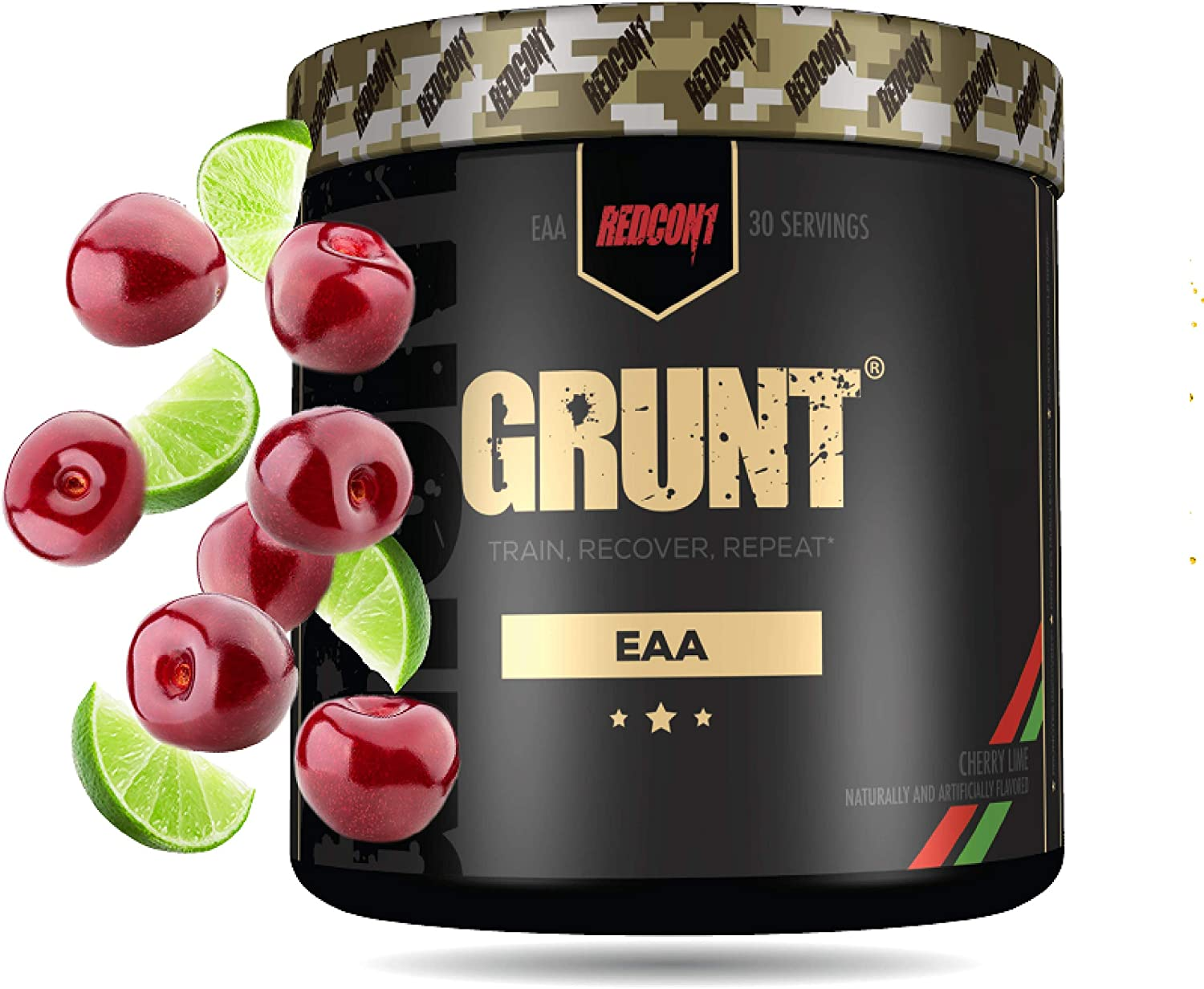 Redcon1 Grunt, EAAs, 30 Servings, Recover Faster, 9 Essential Amino Acids 30 Servings, Complete Protein Source (Cherry Lime)