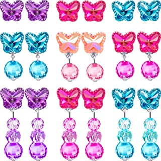 9 Pairs Girls Clip-on Earrings Pretend Princess Play Earrings Jewelry Set