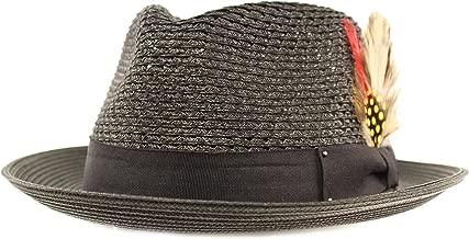 SK Hat shop Men's Light Vented Removable Feather Derby Fedora Curled Brim Hat