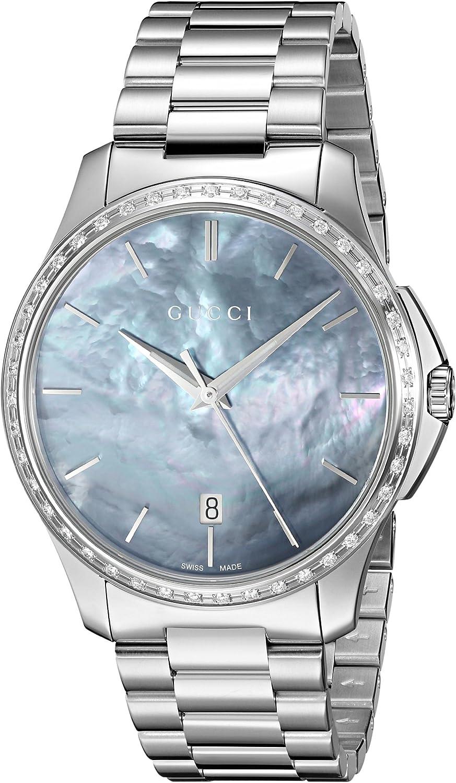 Gucci Reloj analógico para Mujeres de Cuarzo con Correa en Acero Inoxidable YA126458