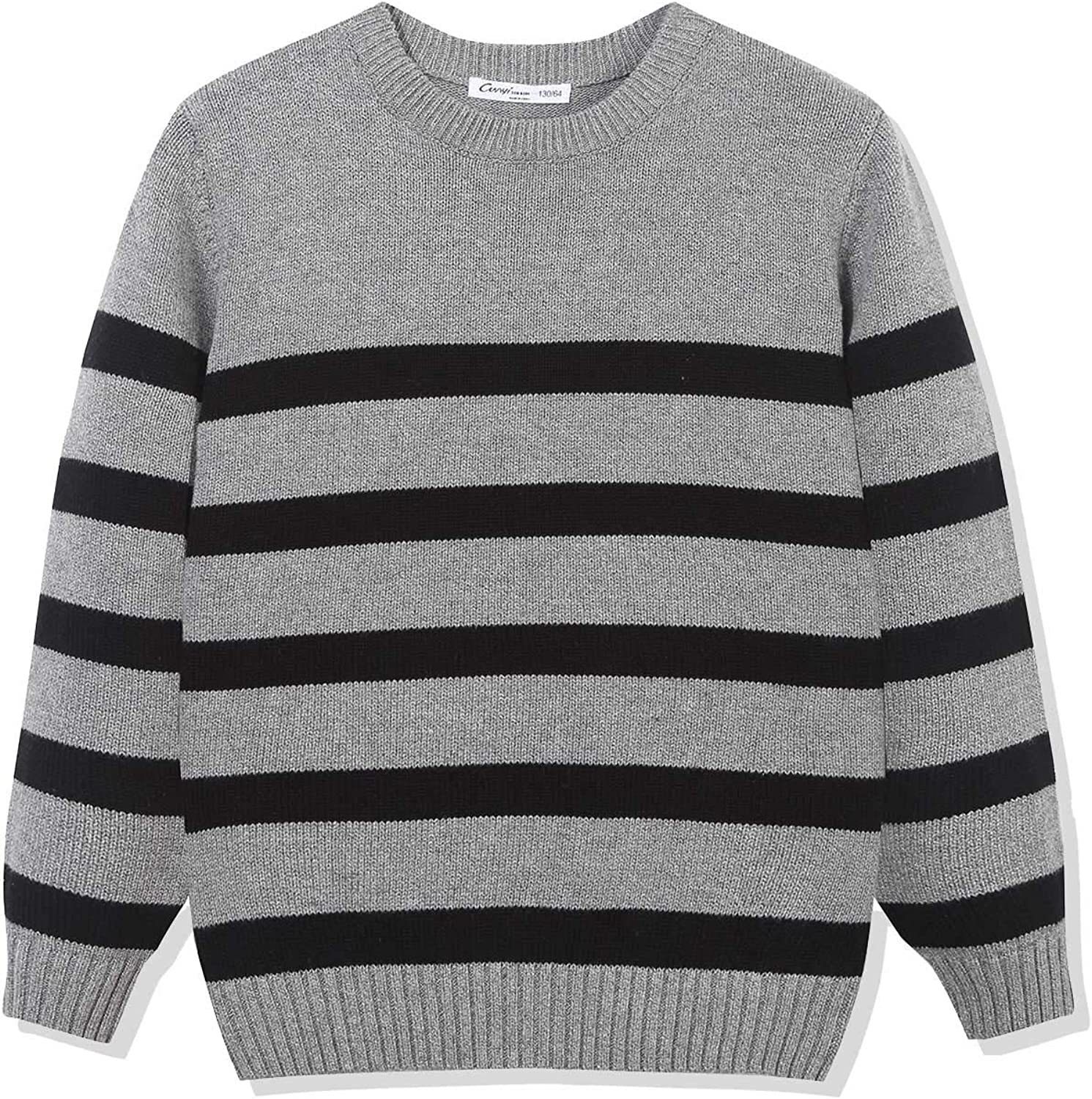 CUNYI Boys' Crewneck Cotton Striped Knit Sweater Pullover Gray Long Sleeve