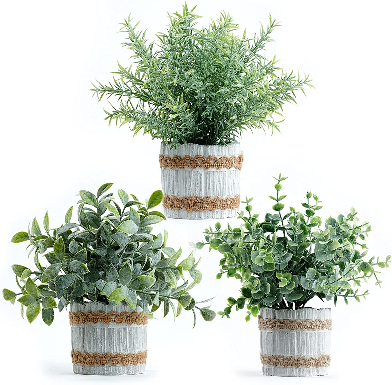 Joyhalo 3 Packs Artificial Potted Plants, Small Fake Plant Indoor-Faux Eucalyptus in Pots, Artificial Plants & Flowers for Home Office Farmhouse Kitchen Bathroom Table Decor