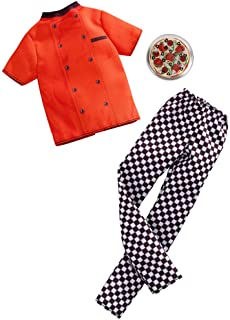 Barbie Clothes: Career Outfits for Ken Doll, Pizza Chef Look with Pizza, Gift for 3 to 8 Year Olds