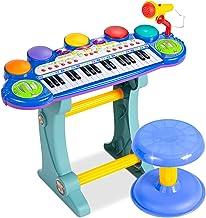 بهترین انتخاب محصولات صفحه کلید اسباب بازی پیانو اسباب بازی الکترونیکی برای کودکان 37-کلید با / ضبط و پخش ، میکروفون ، سینت سایزر ، مدفوع - آبی