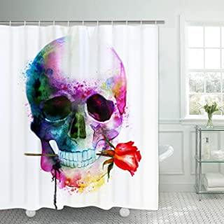 Ikfashoni Halloween Shower Curtains for Bathroom, Skull Shower Curtain with 12 Hooks, Red Rose Floral Shower Curtains Colorful Fabric Shower Curtain Bathroom, 70 L x 69 W, Waterproof