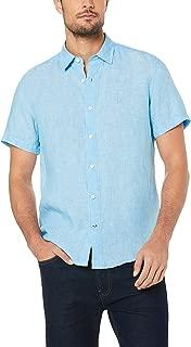 Nautica Men's Short Sleeve Woven Linen Solid Shirt