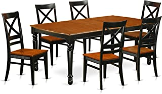 DOQU7-BCH-W 7-Piece table and chair set with one Dover dining room table and 6 dining room chairs in a Black and Cherry Finish