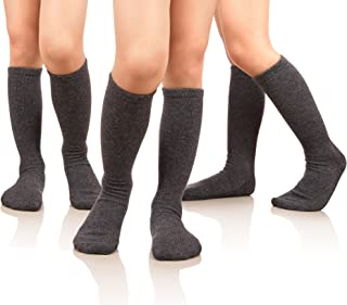 MIUBEAR Girls Cotton Knee High Socks School Girls Uniform Soccer Sport Socks 3-13 Years Old Pack Of 3