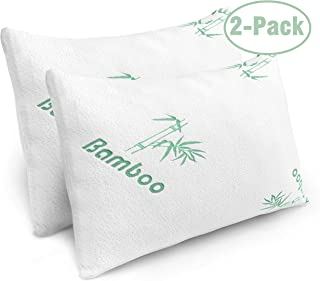 Pillows for Sleeping – 2 Pack Cooling Shredded Memory Foam Bed Pillows with Bamboo..