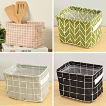 Miaro 4 Pack Canvas Storage Basket Bins, Home Decor Organizers Bag for Adult Makeup, Baby Toys Liners, Books (4 Pack, Stripes & Checks)