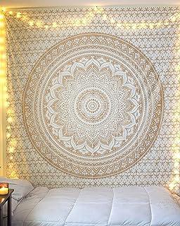 Large Queen Size Golden Ombre Mandala Tapestry – Huge Boho Medallion Indian Gold..