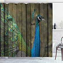 Ambesonne Peacock Decor Collection, Peacock Mural on the Wall Royal Mythological Animal Represents Patience Artwork, Polyester Fabric Bathroom Shower Curtain, 84 Inches Extra Long, Brown Green Teal