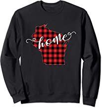 Wisconsin WI State Outline Home Winter Red Buffalo Plaid Sweatshirt