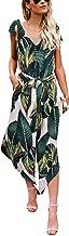 BELONGSCI Women Outfit Sleeveless Shoulder Bandage Waistband Sexy V-Neck Wide Leg Long Jumpsuit with Belt