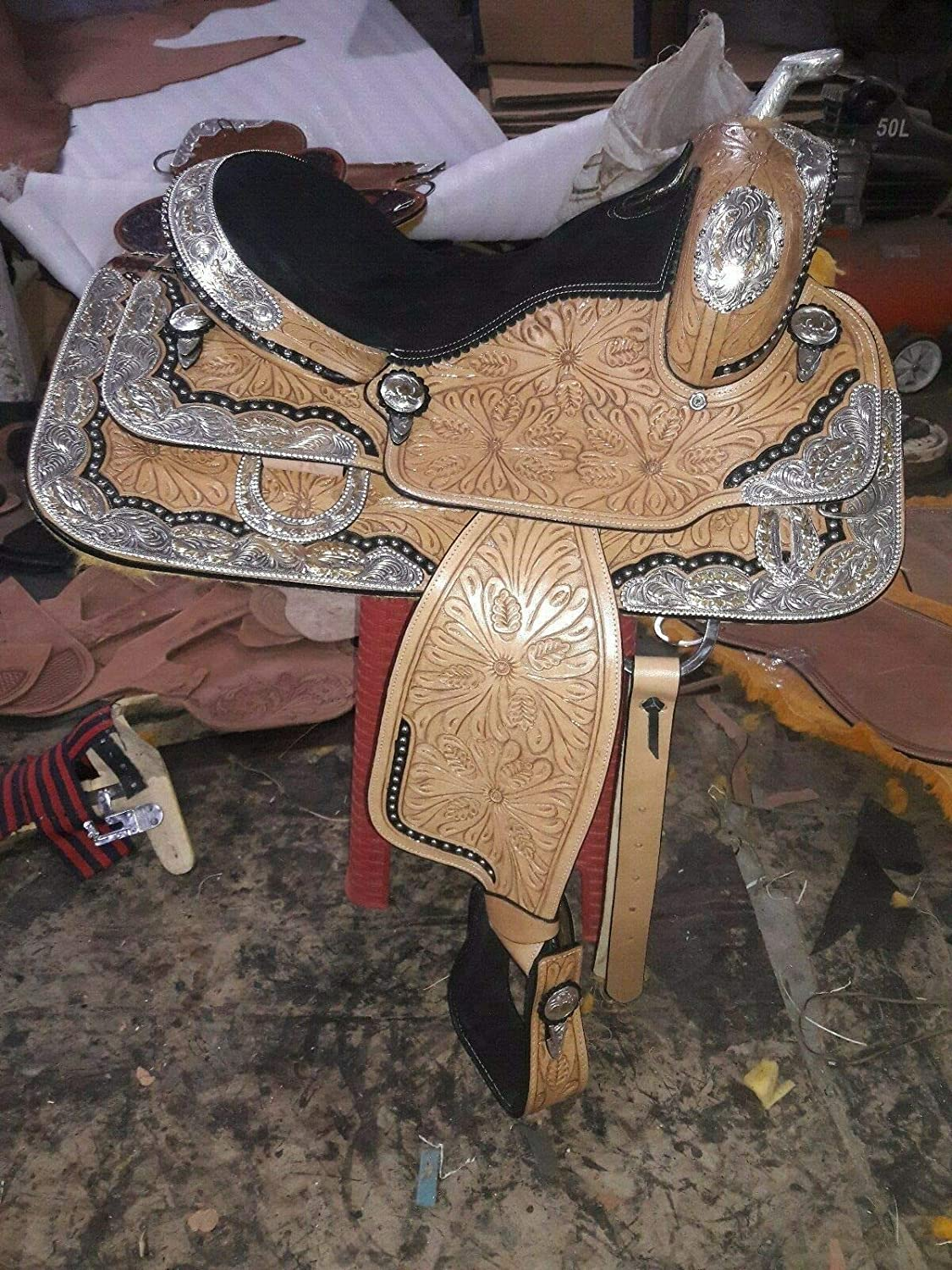 Leather Ride New Western NEW before selling Saddle Co with Fully Silver mail order Show