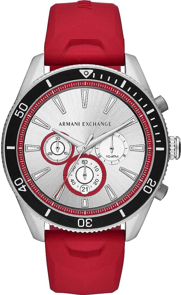 Armani exchange, orologio,cronografo per uomo,cassa in acciaio e cinturino in silicone AX1837