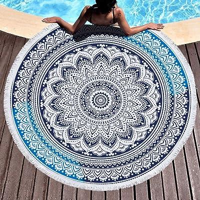 Amazon.com: Mandala tapiz redondo azul impreso Yoga Alfombra ...
