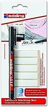 edding 141-1-01 - Kit de 25 etiquetas de tela para marcar la ropa y rotulador permanente para tela 141F