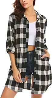 Womens Flannel Plaid Shirts Roll Up Long Sleeve Pockets Mid-Long Casual Boyfriend Shirts