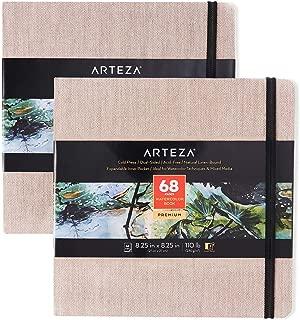 ARTEZA Blocs de acuarela | 21x21 cm | Paquete de 2 | Total 68 hojas | Tapa dura color beige | Papel de 230 g/m² | Libreta de dibujo de acuarela ideal como diario de viaje y bloc para medios mixto