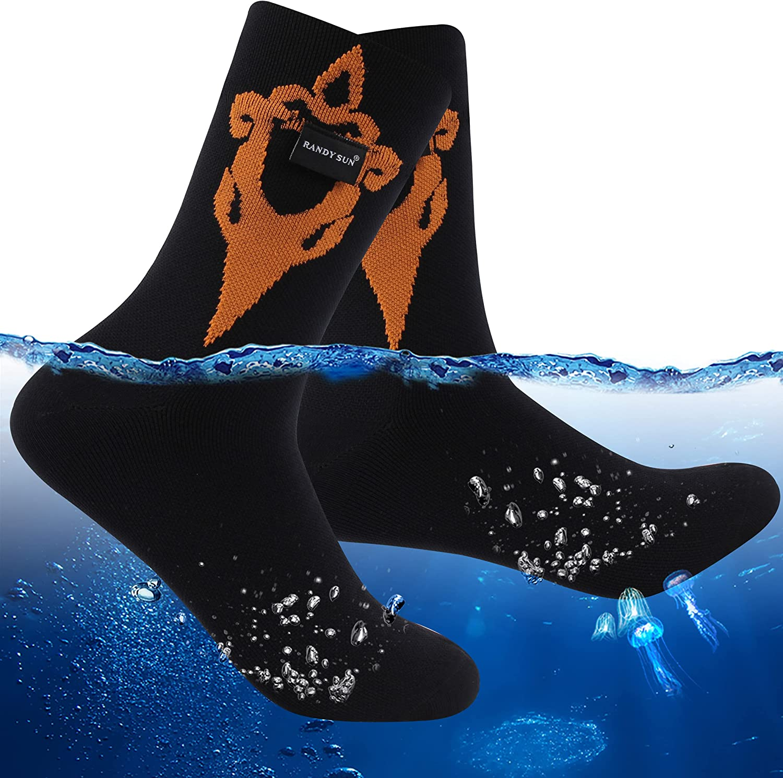 RANDY SUN Merino Wool Waterproof Hiking Socks, Men Women Breathable Running Cycling Crew Socks 1 Pair