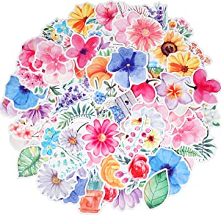 120 Pieces Cute Flower Stickers Vinyl Flower Decals for Laptop Waterproof Plant Stickers Decorative Stickers for Water Bot...