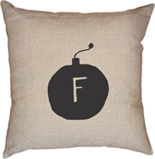 Hilarious Trendy Graphic F Bomb Graphic Decorative Linen Throw Cushion Pillow Case with Insert