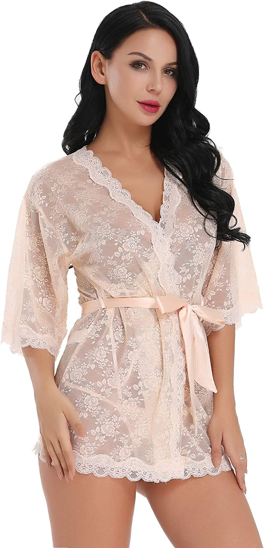Cherrydew Womens Lace Kimono Lingerie Robe Set Sheer See Through Babydoll Sleepwear