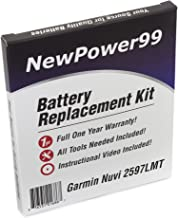 NewPower99 Battery Replacement Kit for Garmin Nuvi 2597LMT with Installation Video, Tools, and Extended Life Battery.