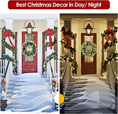 Christmas Wreaths for Front Door, 24 Inch Pine Artificial Christmas Wreath, Garland with Red Berries,Cones, Twigs, Flower Gif