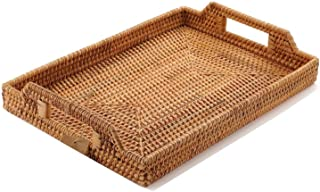 Hand-Woven Rattan Serving Tray with Handles for Breakfast, Drinks, Snack for Dining /Coffee Table (14.5 inch (37 cm), Rect...