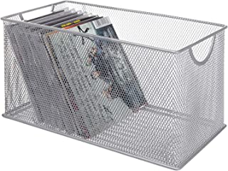 SK SHARKBANG Metal Mesh CD Basket Holder Disc Organizer Desk Storage Bin Box for Home&Office Silver