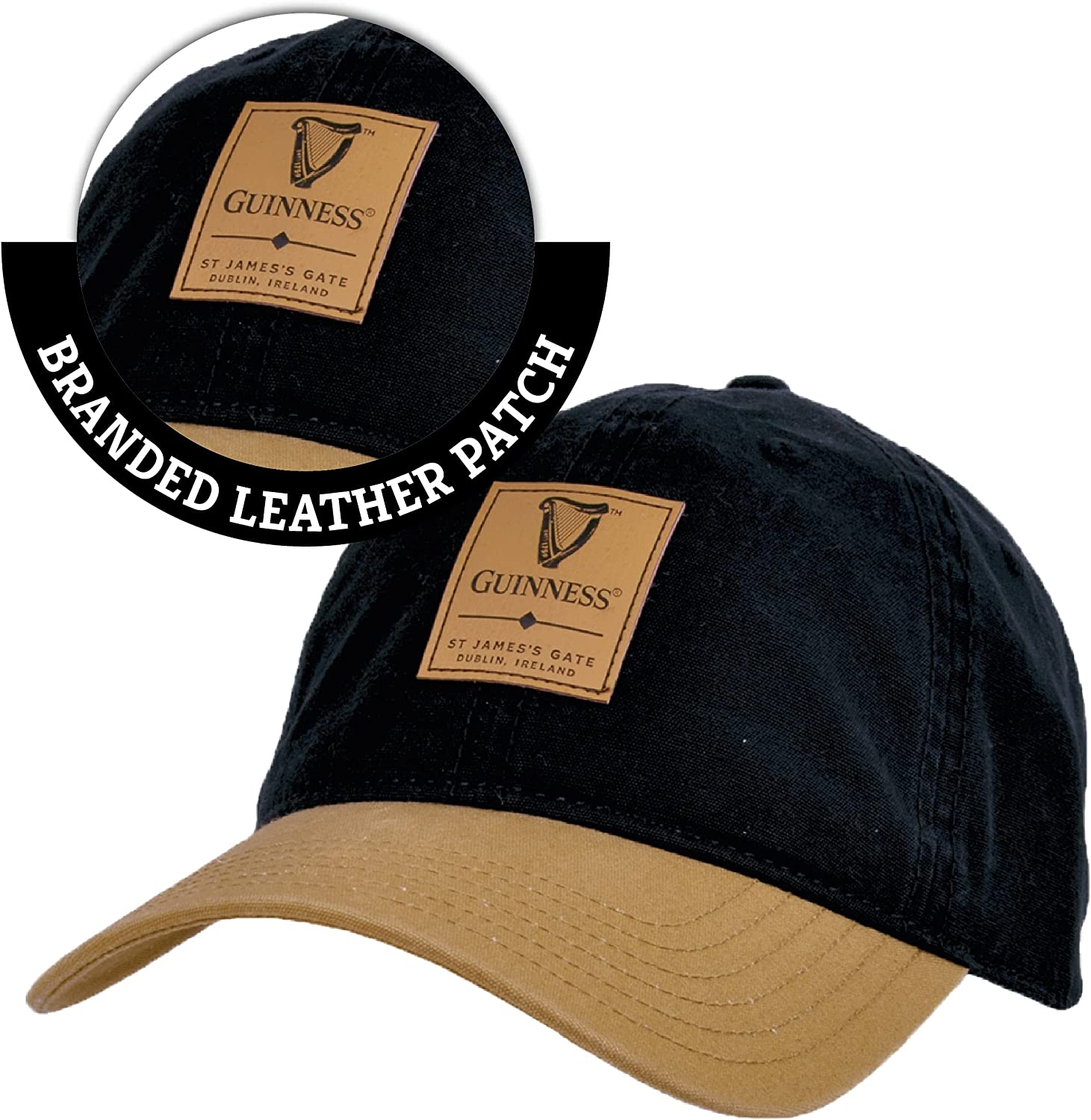 Guinness Black & Caramel Baseball Cap with Leather Patch
