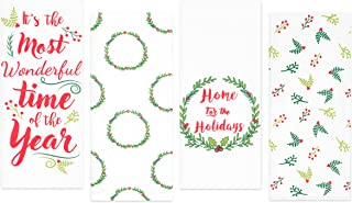 Sticky Toffee Cotton Flour Sack Christmas Kitchen Towels, Holiday Green and Red Garland and Wreath Prints, 4 Pack, 28 in x 29 in