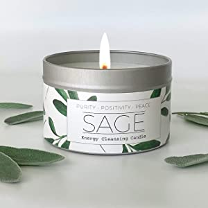 White Sage Smudge Candle for Cleansing House Negative Energy, Hand-Poured by USA Artisan, Perfect for Intention Setting, Meditation, Chakra Healing, Calm Anxiety, Spiritual Gift New Home Essential