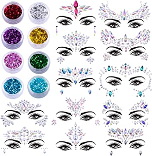 SIQUK 12 Sets Face Gems Glitter Mermaid Face Jewels Crystal Stickers with 8 Boxes Chunky Face Glitter Temporary Tattoos fo...