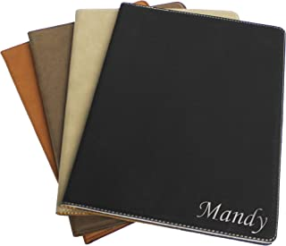 Custom Monogrammed Business Portfolio with Black Engraved Journal Notepad Padfolio Gifts