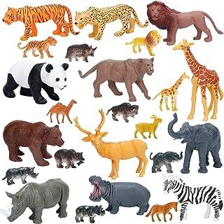 Jumbo Safari Animals Figures, Realistic Large Wild Zoo Animals Figurines, Plastic Jungle Animals Toys Set with Tiger, Lion...