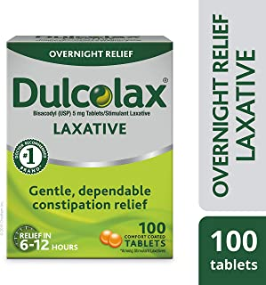 Dulcolax Laxative Tablets, 100 Count, Gentle, Reliable Overnight Relief from..
