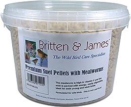 Britten & James® Premium Suet Pellets con Las Grasas DE MEALWORMS. Un excelente suplemento de energía para Aves Silvestres en una bañera de 3 litros con Cierre hermético.