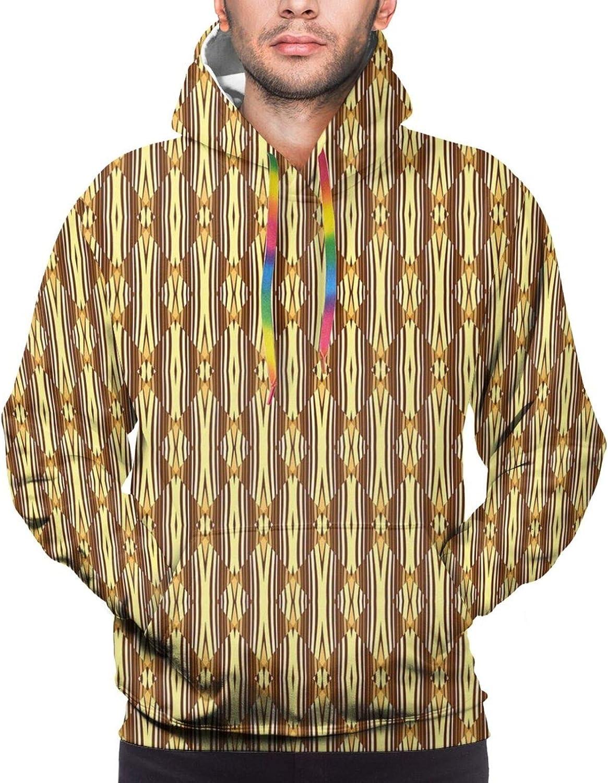 TENJONE Men's Hoodies Sweatshirts,African Culture Tribal Ornamental Stripes with Earthy Classical Timeless Motifs