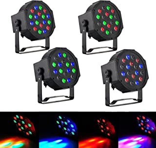 CO-Z Upgraded LED Stage Lights, 4 Pack 18x3W RGB Par Lights, 4pcs 7 Modes DMX Controlled Sound Activated Stage Effect Lighting for DJ Home Party Festival Dancing Bar Club Wedding Church Uplighting