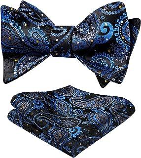 HISDERN Men's Paisley Handkerchief Jacquard Wedding Party Self Bow Tie Pocket Square Set