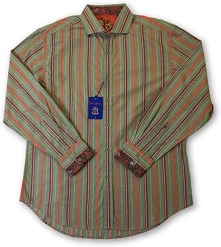 Robert Graham 'Van' Shirt in vert rouge Jacquard Stripe - XL