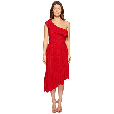 The Kooples Asymmetrical Cotton Dress with Fancywork Details (Red) Women