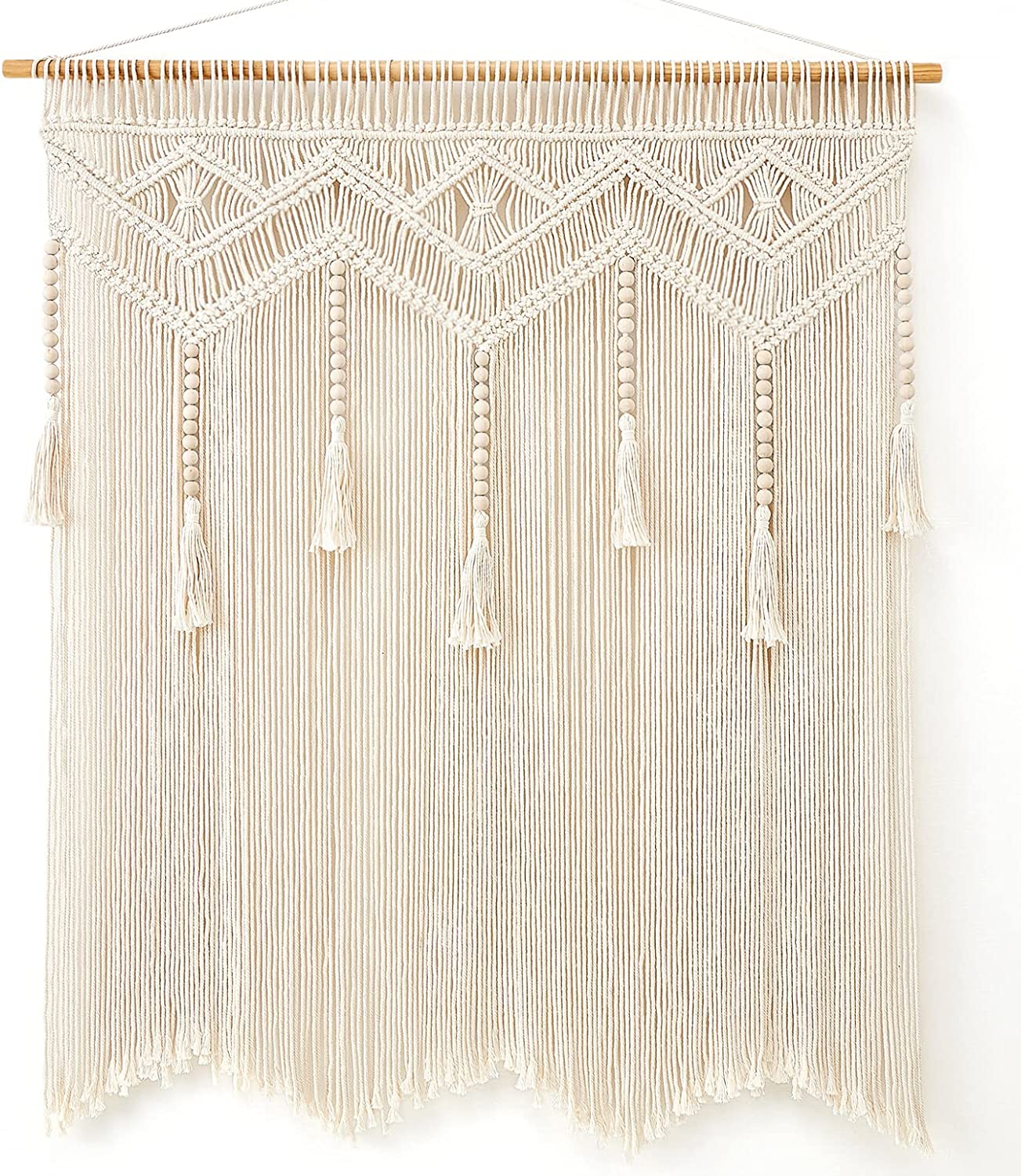 Mkono Macrame Wall Hanging Large Boho Decor Chic Home Tapestry Bohemian Tassel Woven Wall Art Decoration for Bedroom Living Room Dorm Apartment Over Bed Wall Decor Backdrop, 36''W x 42''H