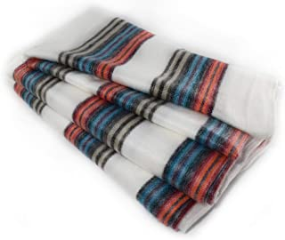 Qisu Ecuadorian Alpaca Wool Blanket. Large, Beautiful, Warm Throws | Hand-Woven Craftsmanship | Soft, Hypoallergenic and Breathable | Non-Itchy or Scratchy Fabric (White Blue Variegated)