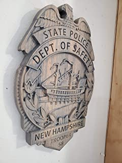 3D V CARVED - Personalized New Hampshire State Trooper Police Badge V Carved Wood Sign
