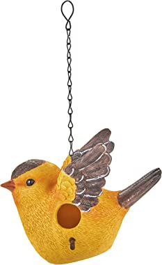 The Lakeside Collection Bird Shaped Birdhouse with Hanging Chain for Outdoor Trees, Patios - Goldfinch