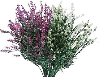 Mr.Bom Artificial Lavender Flowers Bouquet Large 6 Bundles Purple White Plastic Flower Plants for Garden Outside or House ...